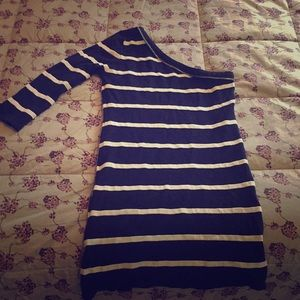 One Shoulder Striped Bodycon Dress